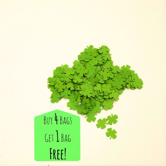 Green Paper Shamrock Four Leaf Clover Confetti by IdleHourCrafts