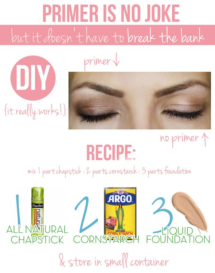 DIY Primer- consists of all natural Chaptstick, cornstarch, and liquid foundation. Primer helps make eye make up stick and stay in place all day.