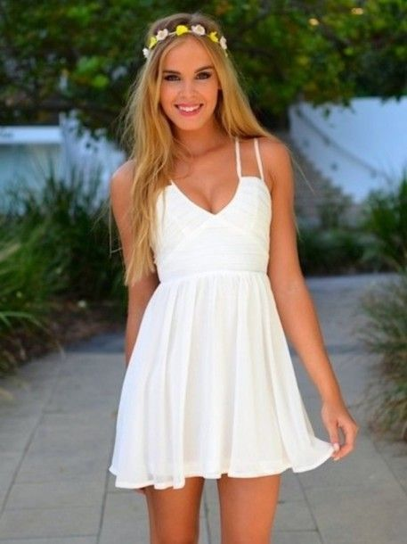 Dress: white dress, summer dress, short dress, beach dress, white, short, beach, summer outfits, bridesmaid, sundress, tank top - Wheretoget