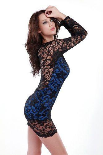 Vestidos de Encaje Azul con Mangas - Para Más Información Ingresa en: http://imagenesdevestidosdenovia.com/vestidos-de-encaje-azul-con-mangas/