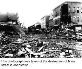 MAY 31, 1889:  The Johnstown Flood.  Johnstown, PA was destroyed when the South Fork Dam on Lake Conemaugh broke. The official death toll was 2, 209. Image: Johnstown from   History of the Johnstown Flood