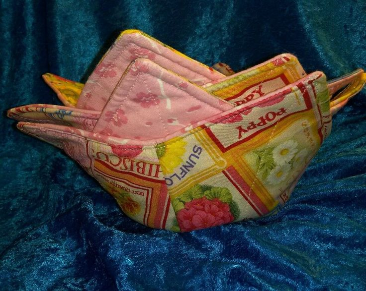 For sale in my eBay store....Set of 4 Reversible Quilted Microwave Bowl Holder-Cozy-Flower Seed Packs PINK! #Handmade