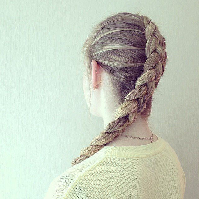 This inside-out braid is a chic way to keep your hair out of your face this spring.
