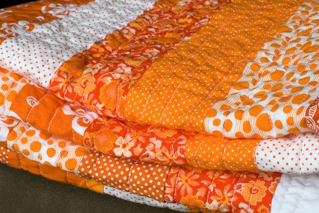 orange quilt by simplebeans, via Flickr.  Want to make orange quilt!!