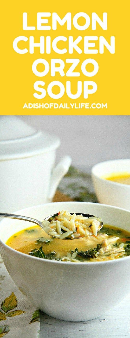 This delicious and easy Lemon Chicken Orzo Soup recipe is the perfect alternative to the traditional chicken soup. Packed with chicken, orzo, and kale, and a twist of lemon, this fast and easy soup (30 min) will warm your soul on a chilly day! Guaranteed to be a new family favorite!
