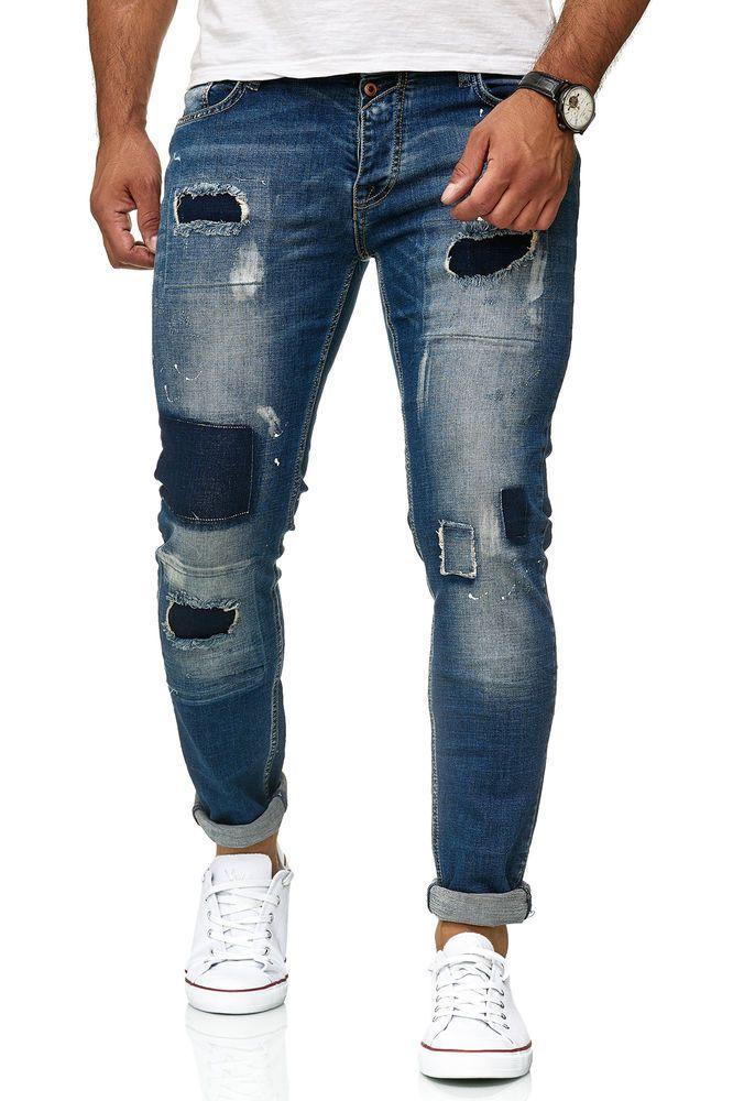 Return Herren Jeans Hose Destroyed Slim Fit Röhrenjeans