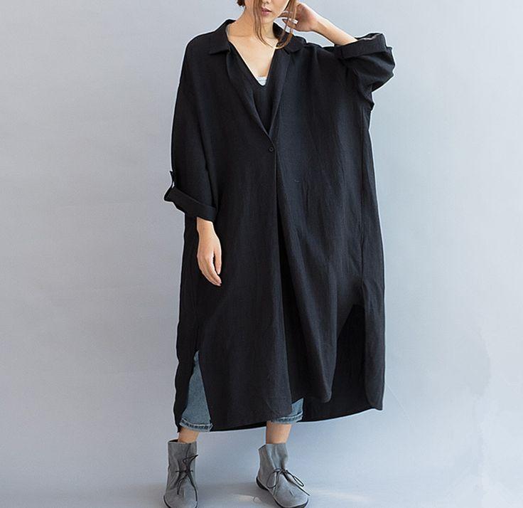 Women cotton linen casual loose fitting summer dress short sleeve - Tkdress  - 1