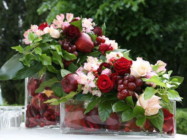 Switch roses with summery flowers or just summer colors... no apples inside... just showing you combination of flowers/grapes...Add tangerines instead of apples?!