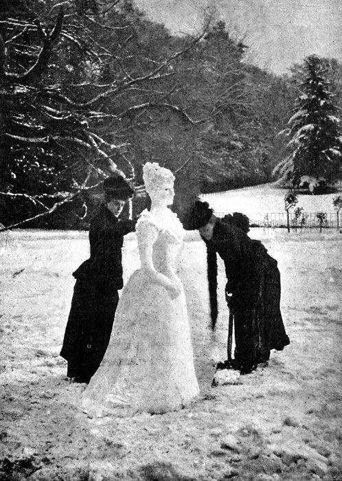"""Two women making an elegant """"snow Lady"""", 1891."""