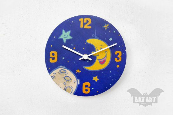 BAT Wall Clock 20cm kids moon stars night  White metal by BatLab