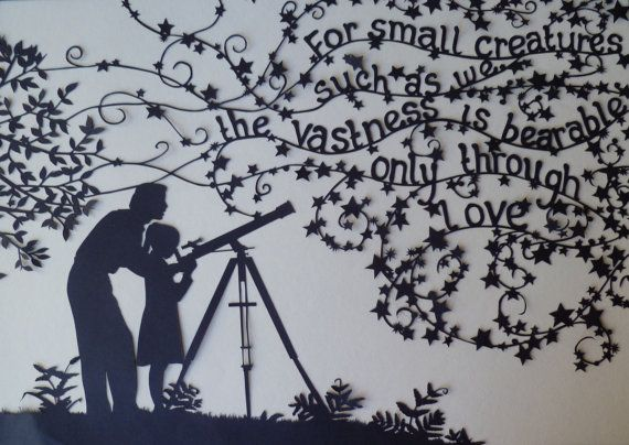 Father and daughter with stars - papercut with Carl Sagan quote (by KittyMoonEyes, $120)