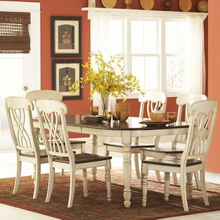 Perfect TRIBECCA HOME Mackenzie Country Antique White Dining Table   Overstock™  Shopping   Great Deals On