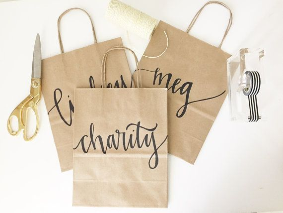 Custom gift bags + Kraft gift bags + Wedding gift bags + Bridal shower gift bag + Bachelorette Party bags + Welcome Bags / Handwritten