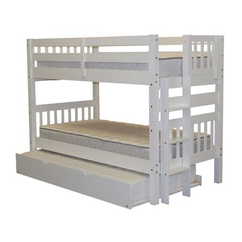 Features:  -Finish is child-safe.  -No MDF or particle board, solid pine.  -End ladder can be positioned to the left or right for easy access to the top bunk.  -Can be separated to make two beds: No.