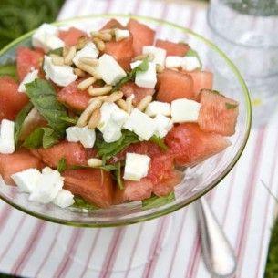 Sallad på vattenmelon, mynta & fetaost