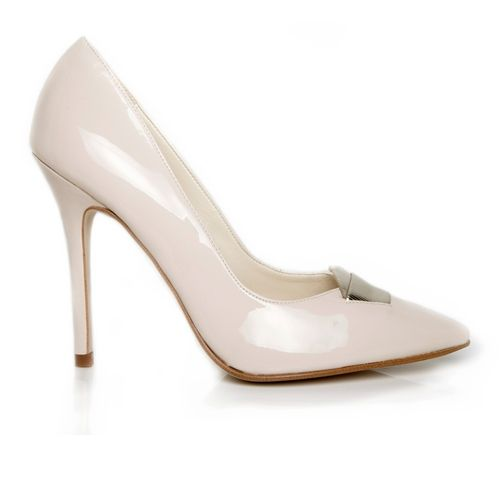 Beyond Skin stylish and elegant stiletto court shoe with metallic faux leather detail on toe.