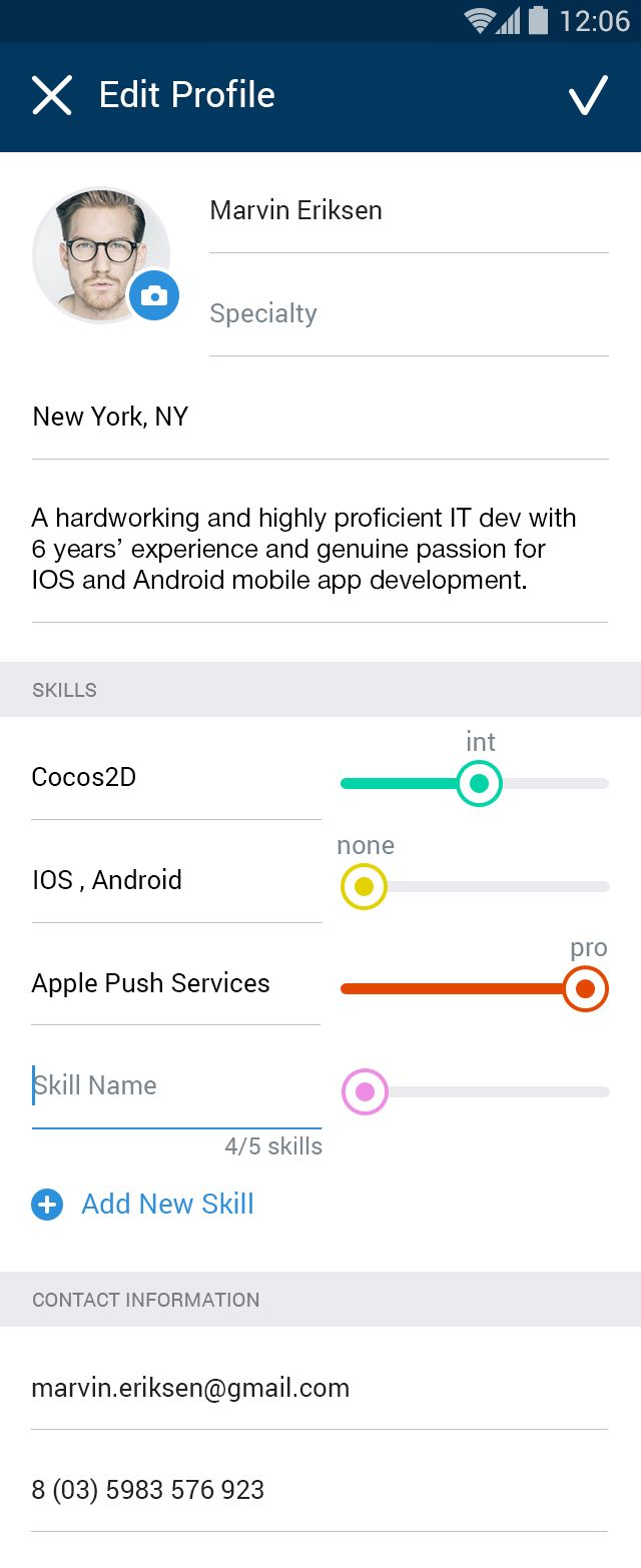 Profile Candidate Edit Mobile Ui Ue For Android