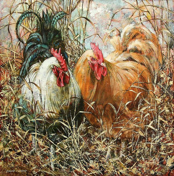 Chicken in the grass. Painting by David C. Lyons. David C. Lyons was born in Lancashire in the North West of England and has lived there all his life. He paints mainly aspects of the area which at first may seem nostalgic but references have been gathered from current locations so everything is as it really is. He was made a Fellow of the British Society of Painters in 2001 and his work has been sold throughout the world.