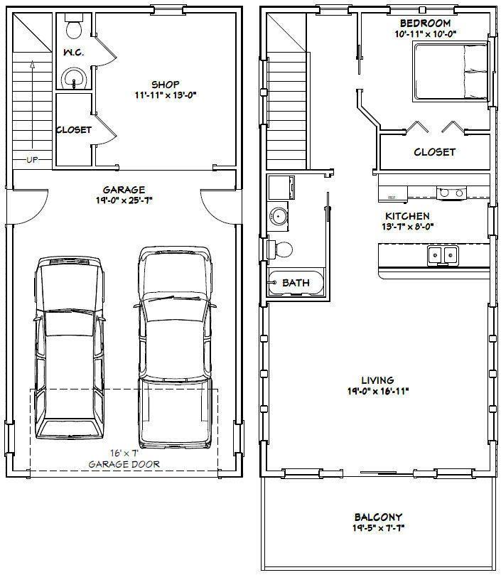 20x40 House 1 Bedroom 1 5 Bath 965 Sq Ft Pdf Floor Plan Model 7g 29 99 V 2020 G Dom Garazh Dom Garazh