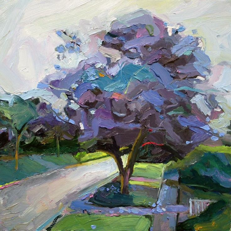 Richard Claremont #Art and #Inspiration - Street Jacarandas - #Landscapes #Oil #Paintings for Sale