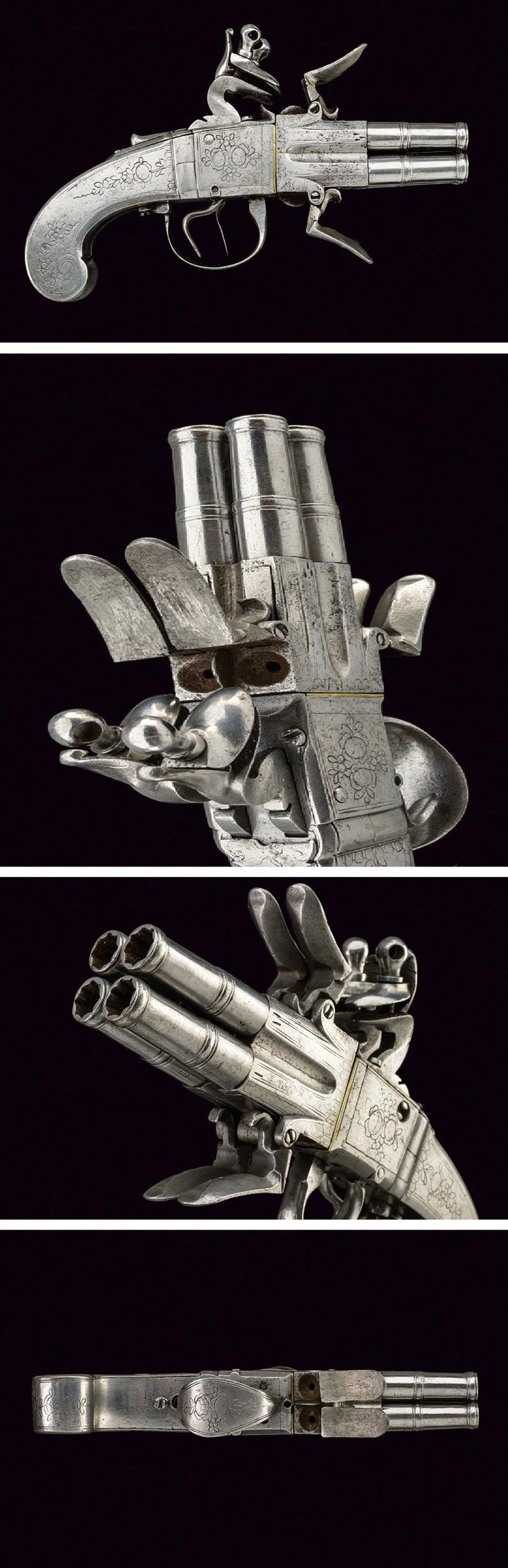 A SCARCE, COMPLETELY IRON, PERCUSSION POCKET PISTOL WITH FOUR ROTATABLE BARRELS.France, Second half of the 18th Century.