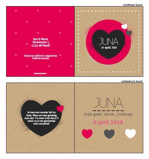 Geboortekaartje - Stoer geboortekaartje voor een meisje! Ontwerp dit kaartje zelf, met onze ontwerptool. www.geboortekaartjesdrukkerij.nl