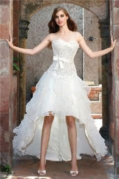 """$192.19, [Short Wedding Dresses] Bridal Plaid Convertible Weddings Dresses Summertime Petal """"Mermaid Significant Other Custom-made Wedding Dress, Stunning Wedding Dress Low Cost"""" Sash Bridal Empire Waist Short Front Coolest Country Floral Strapless Sleeveless Rhinestone Dramatic Back Sweetheart Neckline Young Curvy Wedding Gown Reception Puffy."""