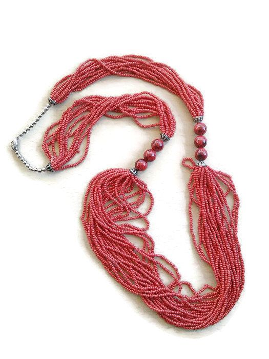 Multistrand boho red long Christmas necklace/ hippie long Christmas necklace /multistrand necklace /boho red necklace/red beaded necklace #boho jewelry #handmade jewelry #bohemian style #hippie jewelry #boho necklace