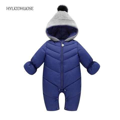 2ba4f2b6d131 HYLKIDHUOSE 2017 Autumn Winter Baby Girls Boys Rompers Hooded Infant Newborn  Cotton Jumpsuits Children Kids Outdoor Warm Coats