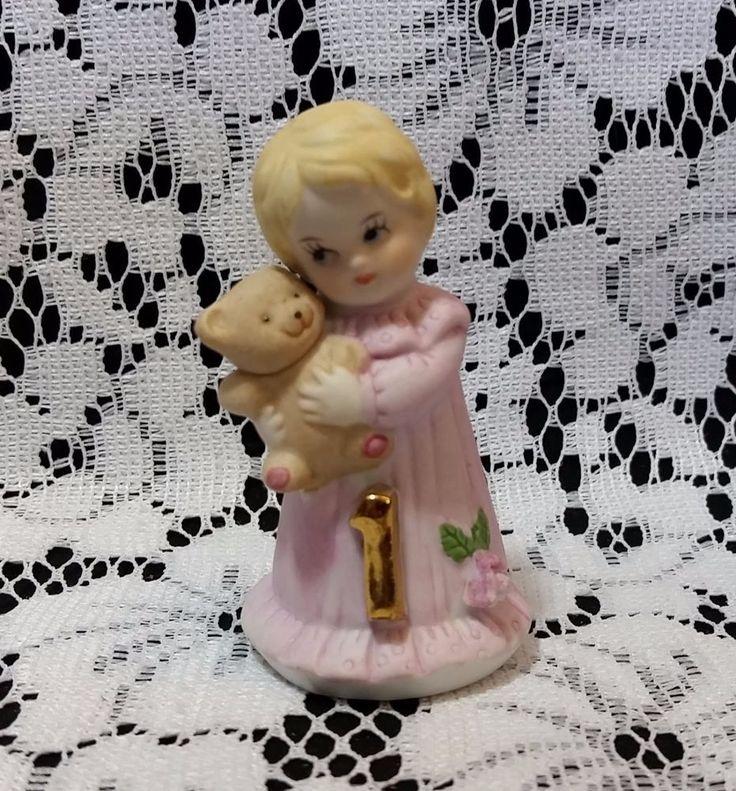 Enesco Growing Up Birthday Girls Age 1 Figurine Figure Blonde Baby Girl 1981 #Enesco