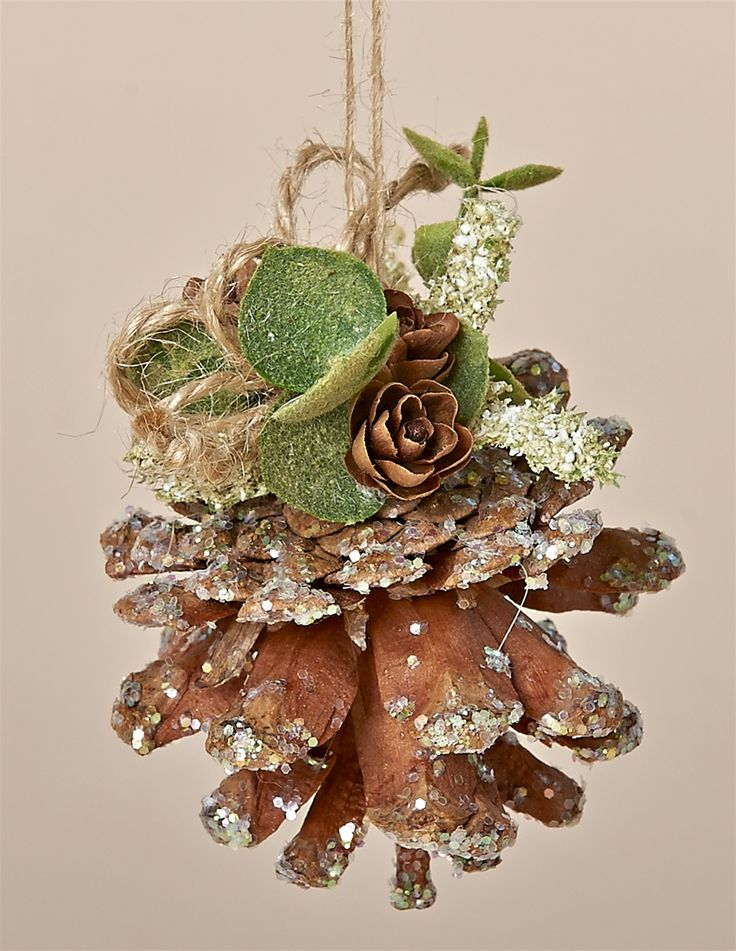 """3"""" Natural, Sparkles PIne Cone Ornament with flocked Eucalyptus, Tiny Pine Cones and a Jute Hanger"""