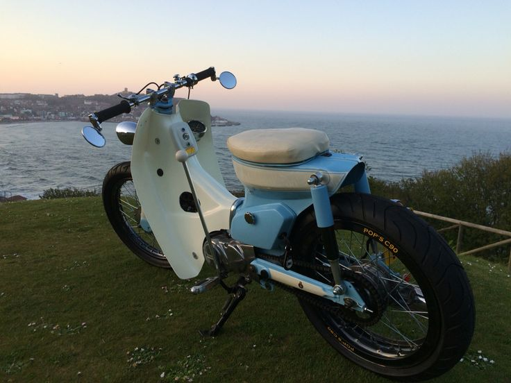 Beautiful evening for a ride round Scarborough on Pop's Honda Cub
