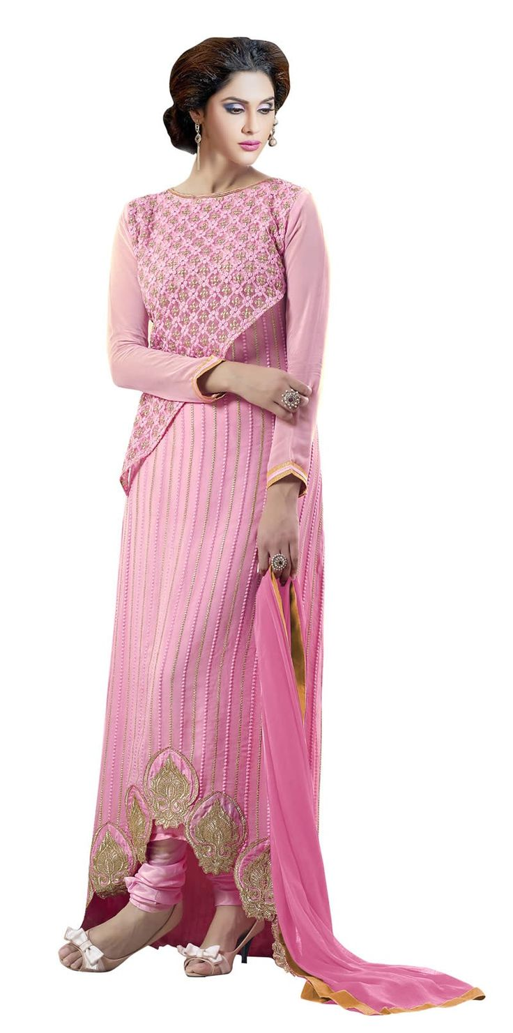 buy saree online Designer Pink Colour Georgette Embroideryand Patchs Work Suit Buy Saree online - Buy Sarees online