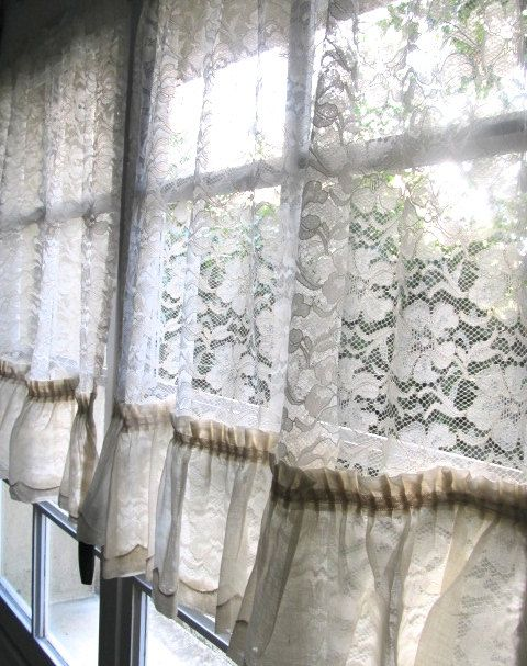 Ivory Cafe Curtains French Lace Curtains Shabby Chic Vintage Lace Curtains Cottage Curtains