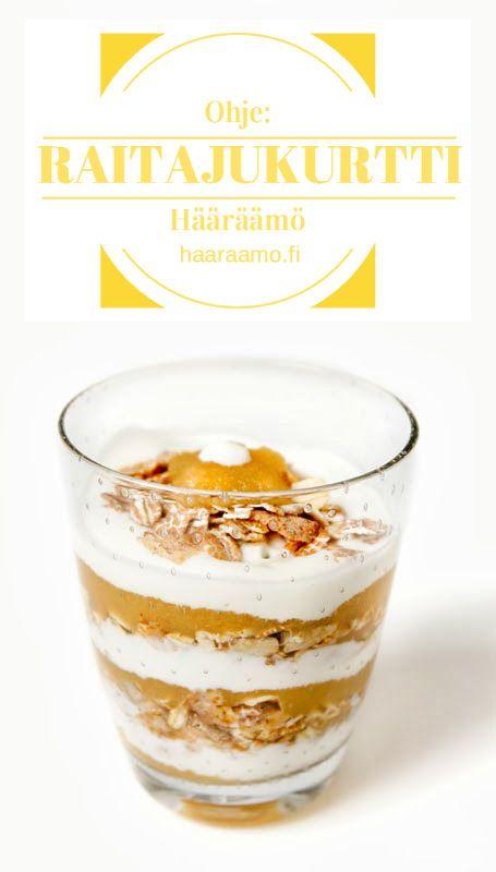 Ohje: Raitajukurtti. Ainekset: omenasose, maustamaton jukurtti, mysli http://www.haaraamo.fi
