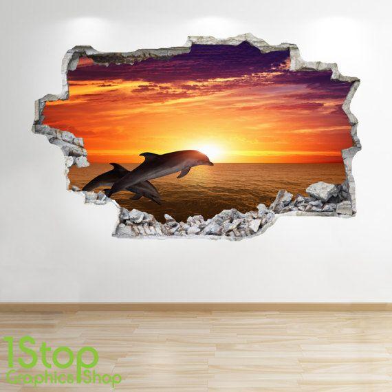 Dolfijn zonsondergang muur Sticker 3D-Look - Oceaan tropische vis Patrijspoort strand slaapkamer Lounge Z185