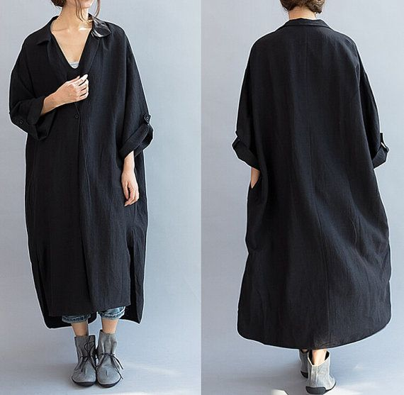 """【Fabric】 Linen, cotton 【Color】 gray, black 【Size】 Without limiting the Shoulder Bust 138cm / 54 """" Sleeve 41cm / 16 """" Length 106-120cm / 41 """"-47""""   Have any questions please... #gown #gray"""