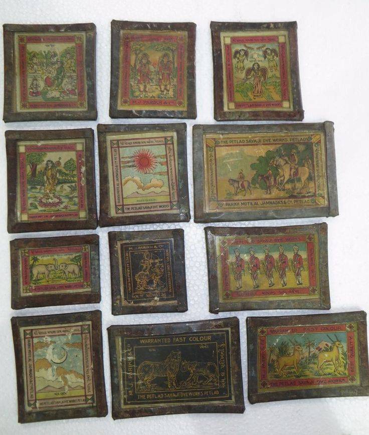 Antique litho Print Adv. label Framed Mythological Animal Army legends lot 12pcs #ThePetladSayajidyeworks