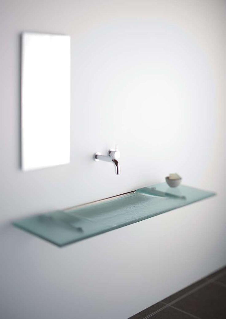 Very Slim Glass Bathroom Sink Linea Washplane Seafoam