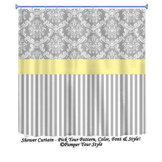 Damask And Stripe Grey And Yellow Shower Curtain Any