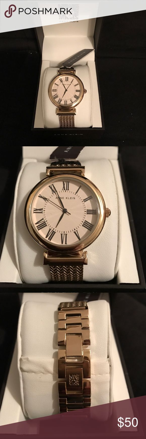 Gold Mesh Band Anne Klein Watch NIB Beautiful watch by Anne Klein. Large round face and Super stylish mesh band. Links can be taken out of clasp to fit any wrist. Battery is working. Anne Klein Accessories Watches