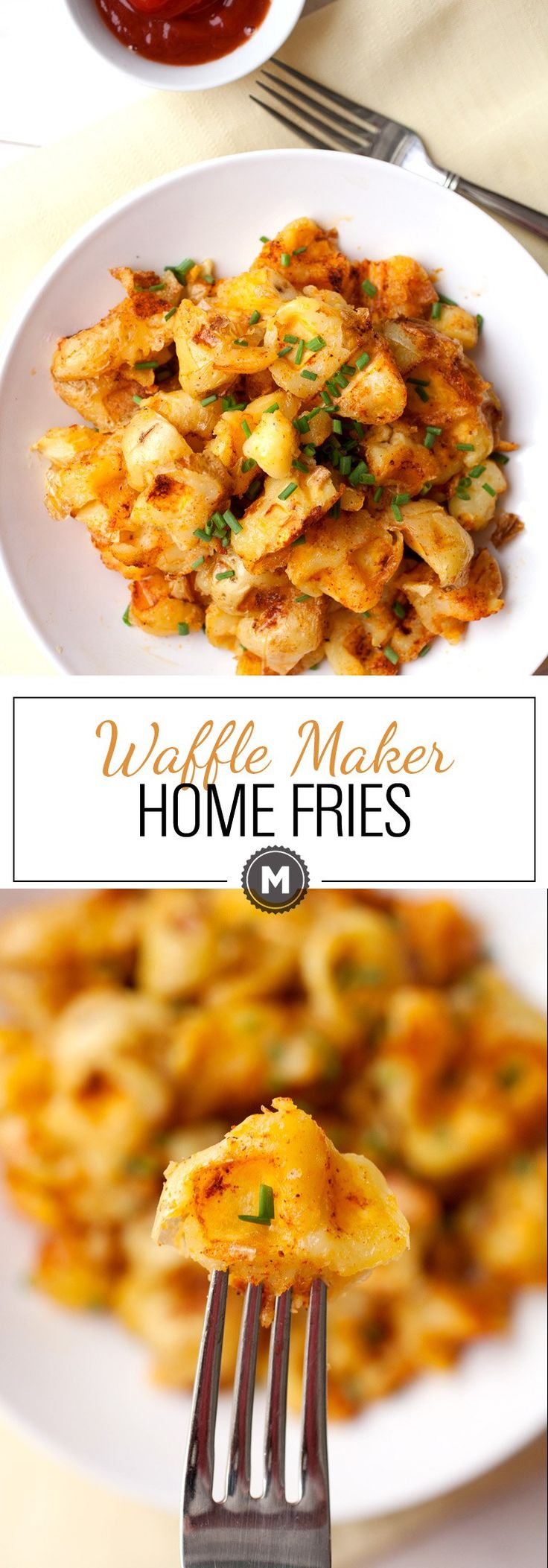 Waffle Maker Home Fries: Crispy and perfect home fries made in a waffle maker! Well seasoned with crispy edges and tender interior. Pile them high and enjoy! | macheesmo.com