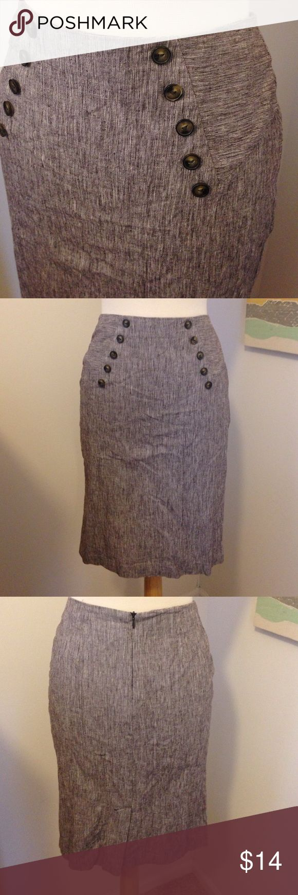 High waisted brown pencil skirt Heathered texture high waisted pencil skirt. With buttons along the front. Super cute and comfortable, stretchy. Only wore a couple times, great for job interviews, work, cocktails. Great condition BCX Skirts Pencil