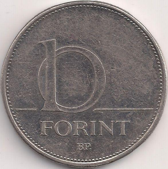 Wertseite: Münze-Europa-Mitteleuropa-Ungarn-Forint-10.00-1992-2011