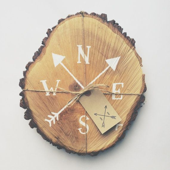 Rustic tree slice sign hand painted compass by TheHipsterHousewife (would be cool if done with a wood burner also)