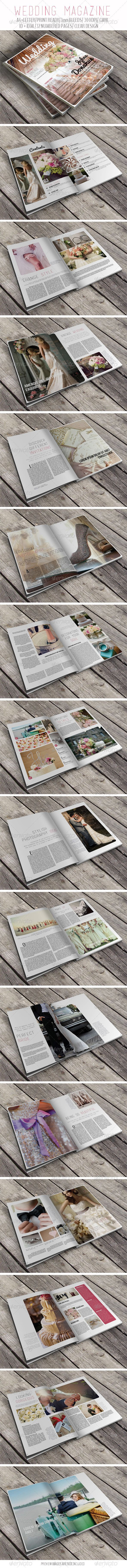 Wedding Magazine .        	 In-design CS5 + Idml CS4 or lower  	 Wedding Magazine template is beautiful, clean and elegant designed magazine that provides your