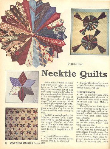 Necktie Quilt Patterns For Beginners : Best 25+ Necktie quilt ideas on Pinterest Tie quilt, Dresden plate patterns and Old ties