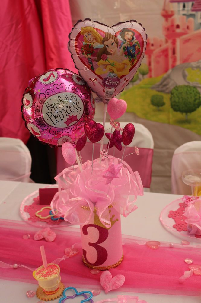 Disney Princess Party Decorations Centerpieces, Handmade, Princess Pink, set 3
