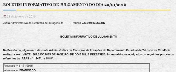 Multas: JARI do Detran.RO publica análise de recursos contra multas de trânsito e abre prazos para recurso ao CETRAN 21.1.2016 74550 +http://brml.co/1SBhwHO