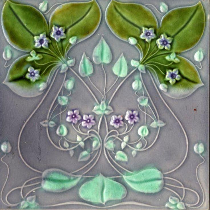 Decorative Ceramic tile 4.25 X 4.25 inches, Illustration Vintage art nouveau #30